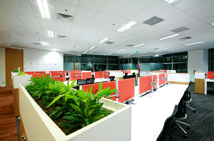 unilever office. One Section Of The Shared Desk Workspaces. Employees Can Select Location Depending On Details Work Being Done. Unilever Office